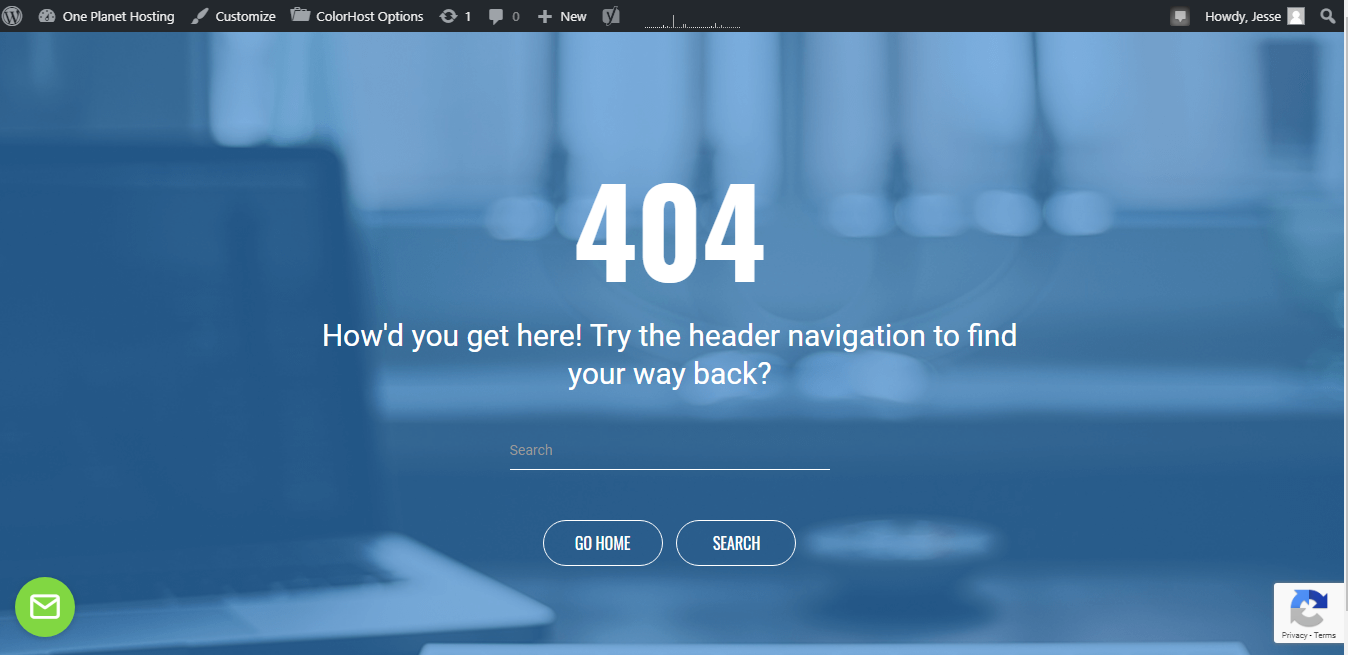 404 page with demo background image loading